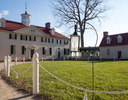 President George Washington home at Mount Vernon in Virginia with candle framing entrance