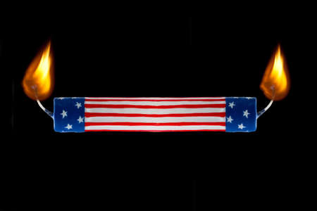 commentary: Concept of USA flag representing America burning candle at both ends economics or political commentary