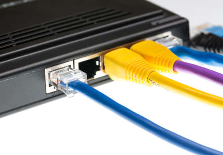 interconnect: Close macro focus on internet lan cat5 cables as concept for cyberwarfare
