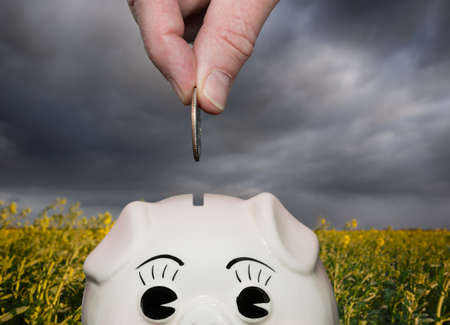 Coin being inserted into piggy bank with fingers suggesting saving for a rainy day or stormy weather photo