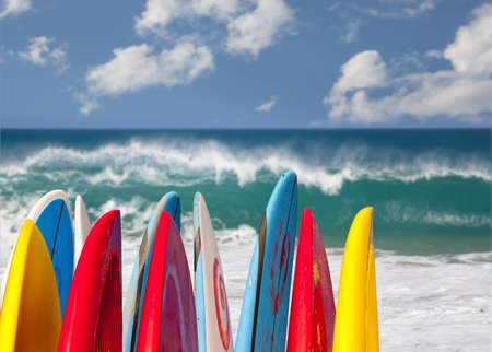TIps of surf board or surfboards at Lumahai beach in Kauai Hawaii on sandy shore by ocean
