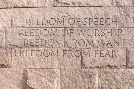 roosevelt: Detail of quotation about freedom at memorial monument to President Franklin Delano Roosevelt in Washington DC Stock Photo
