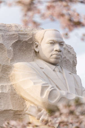 assassinated: WASHINGTON DC - APRIL 8: The monument to Dr Martin Luther King in Washington DC surrounded by cherry blossoms on April 8, 2013. The memorial opened to the public on August 22, 2011. Stock Photo