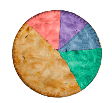 proportional: Freshly baked hot apple pie isolated against white with path for segments and colors to show example of statistical pie chart with proportional slices Stock Photo