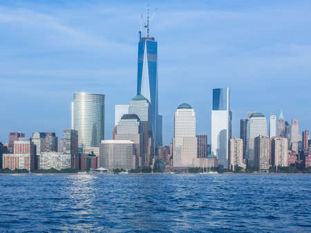 Skyline of lower Manhattan of New York City from Exchange Place at dusk with World Trade Center at full height of 1776 feet May 2013 에디토리얼