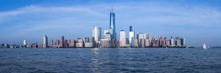 Panorama of lower Manhattan of New York City from Exchange Place at dusk with World Trade Center at full height of 1776 feet May 2013 photo