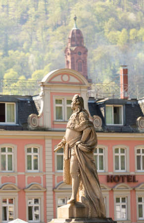 Statue of Karl Theodor from 1792 one of elector builders of old bridge leading to ancient town city of Heidelberg Germany