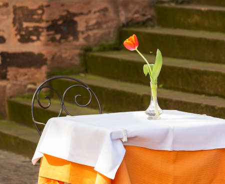 Cafe restaurant table and chair by old stone steps with tulip in old town city of Heidelberg Germany photo