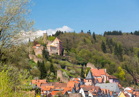 hesse: Ancient town village of Hirschhorn in Hesse district of Germany on banks of Neckar river Stock Photo