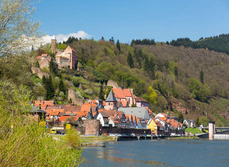 locks: Ancient town village of Hirschhorn in Hesse district of Germany on banks of Neckar river Stock Photo