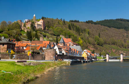 hesse: Ancient town village of Hirschhorn in Hesse district of Germany on banks of Neckar river Editorial