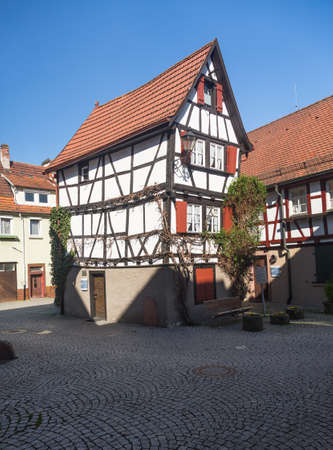 smallest: MOSBACH, GERMANY - April 25: Kickelhain House in old town of Mosbach in Southern Germany on April 25, 2013. It is smallest half timbered house in Germany.