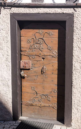 smallest: MOSBACH, GERMANY - April 25: Door of Kickelhain House in  Mosbach in Southern Germany on April 25, 2013. It is smallest half timbered house in Germany. Editorial