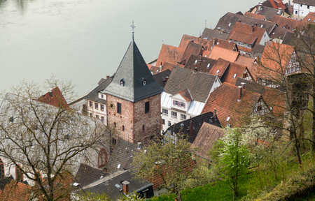 hesse: Catholic church in ancient town village of Hirschhorn in Hesse district of Germany on banks of Neckar river