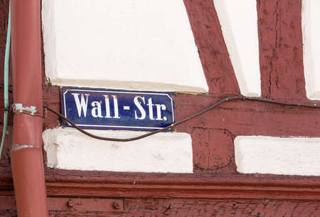 str: Wall Street sign in Bad Wimpfen old town sits on the hilltop above the River Neckar in Southern Germany Stock Photo