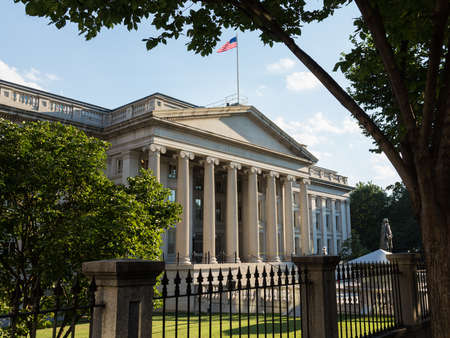 Treasury Building in Washington, D.C. is a National Historic Landmark building which is the headquarters of the United States Department of the Treasury. An image is featured on the back of the United States ten-dollar bill. 1836-1869. Editorial