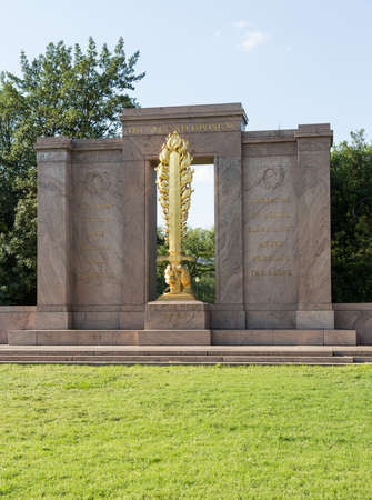 Second Division Memorial is located in President's Park in Washington, DC,  The Memorial commemorates those who died in first world war while serving in the 2nd Infantry Division of the U. S. Army. The artist was James Earle Fraser. It was dedicated on Ju