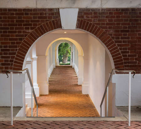CHARLOTTESVILLE, VA - AUGUST 28: Underground walkway under Rotunda on the campus of University of Virginia on 28 August 2013. Designed by Thomas Jefferson as an Academical Village
