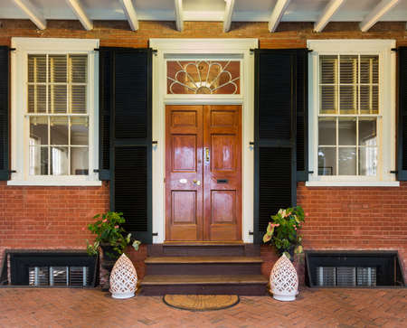 CHARLOTTESVILLE, VA - AUGUST 28: Doorway and entrance on the campus of University of Virginia on 28 August 2013. Designed by Thomas Jefferson as an Academical Village Editorial