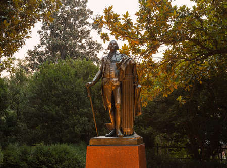 CHARLOTTESVILLE, VA - AUGUST 28: Statue of George Washington at the campus of University of Virginia UVA on August 28, 2013. Designed by Thomas Jefferson as an Academical Village