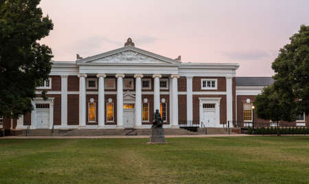 CHARLOTTESVILLE, VA - AUGUST 28: Dawn sky over Old Cabell Hall on campus of University of Virginia UVA on August 28, 2013. Designed by Thomas Jefferson as an Academical Village Editorial