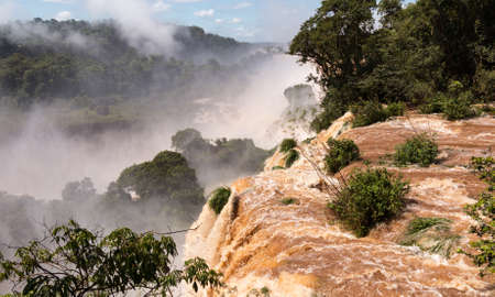 FLOODING: Flood swollen river leading to famous Iguassu Falls on border between Brazil and Argentina