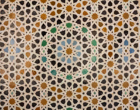 tile pattern: Oriental pattern mosaic of tiles in a mosque in Morocco forming concentric circles