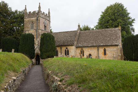 St Peters parish church in Upper Slaughter in Cotswold or Cotswolds district of southern England in the autumn.