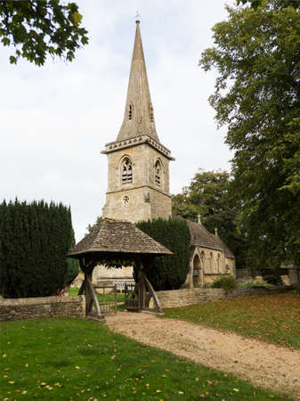 Parish Church in Lower Slaughter in Cotswold or Cotswolds district of southern England in the autumn.