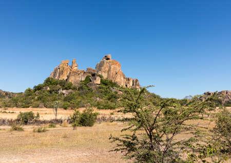 Bulawao 짐바브웨 근처 Matobo 국립 공원에서 화강암 바위 스톡 콘텐츠