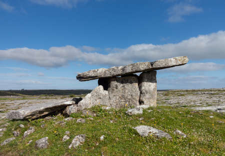 stoneage: Burial marker from prehistoric times in south west Ireland called Poulnabrone Dolmen Stock Photo