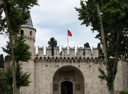 topkapi: Detail of entrance to Topkapi Palace and museum in Istanbul Turkey