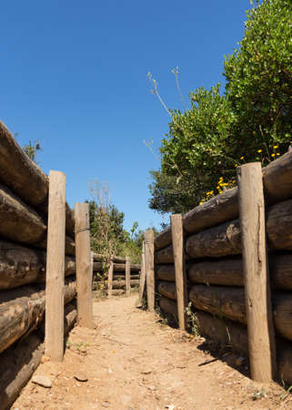 anzac: Recreation of army trench and dugouts at the memorial to all the fallen soldiers and sailors from Allied forces that fought in Gallipoli campaign in First World War