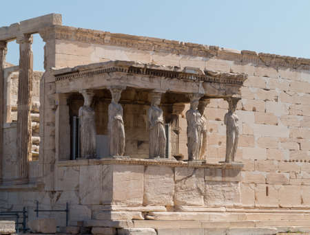 caryatids: Picture of the the Caryatids by the south porch of the Erechtheion in the Acropolis in Athens, Greece Stock Photo