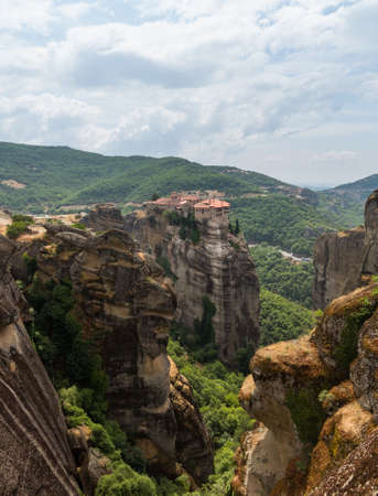 The Meteora meaning middle of the sky, suspended in the air or in the heavens above is one of the largest and most important complexes of Eastern Orthodox monasteries in Greece. The six monasteries are built on natural sandstone rock pillars photo