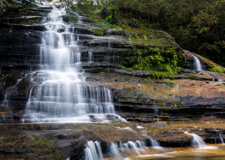 Multiple cascades of upper section of Katoomba Falls in the Blue Mountains of New South Wales near Sydney Australia photo