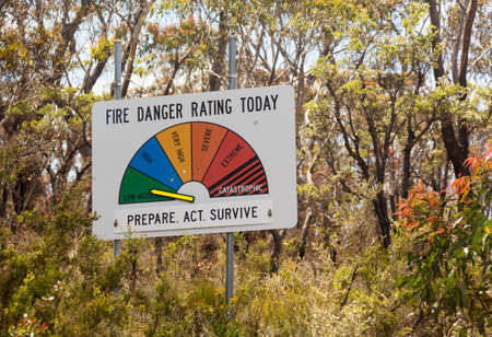Fire Danger warning sign in Blue Mountains of Australia set to Low or Moderate on the alert scale