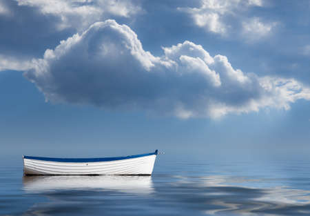 Concept image of loneliness, lacking direction, no leadership, rudderless, floating, listless or generally adrift without a goal Stock Photo
