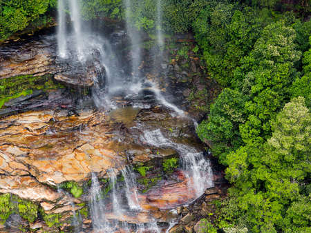 cascade mountains: Multiple cascades of Katoomba Falls in the Blue Mountains of New South Wales near Sydney Australia Stock Photo