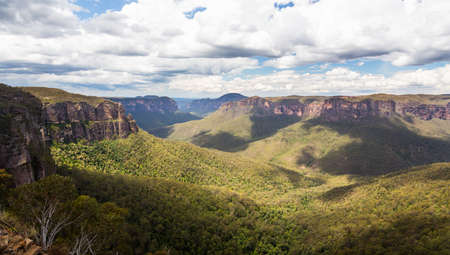 Grose Valley from Govetts Leap Lookout near Blackheath overlooking the majestic Blue Mountains NSW Australia photo