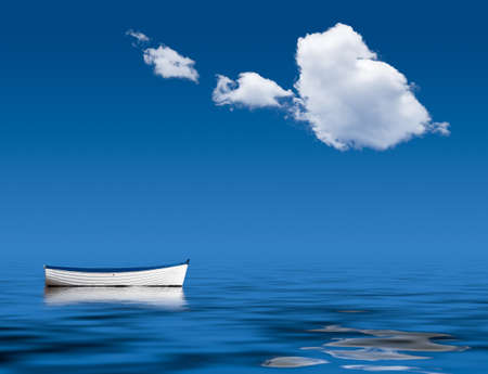 lacking: Concept image of loneliness, lacking direction, no leadership, rudderless, floating, listless or generally adrift without a goal Stock Photo