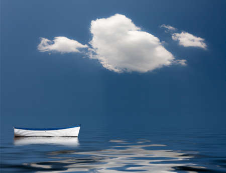 Concept image of loneliness, lacking direction, no leadership, rudderless, floating, listless or generally adrift without a goal Stock Photo - 25043742