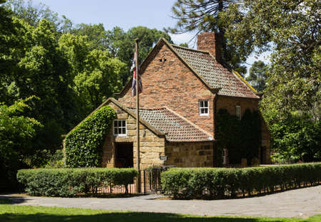 cook house: Home of Captain Cook moved from England to Fitzroy Gardens in Melbourne Australia by Russell Grimwade Editorial
