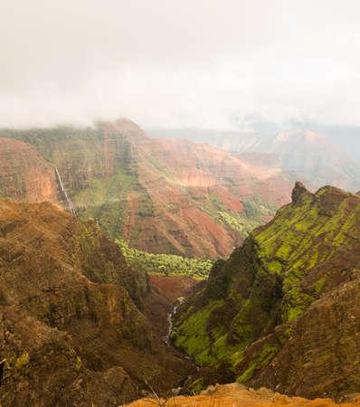 View into the Grand Canyon of the Pacific or Waimea Canyon island of Kauai in the Hawaiian islands photo