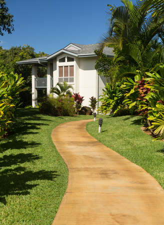 timeshare: Pathway leads through tropical plants at hotel or timeshare holiday vacation resort