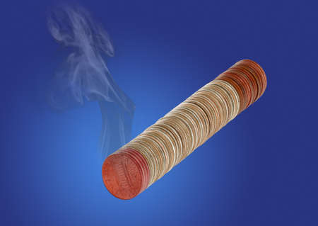 Conceptual illustration of a cigarette burning money created from a  macro focus stacked image of a cigarette made from stack of coins with smoke added to burning tip made from pennies