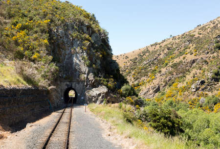 narrow gauge: Railway track of Taieri Gorge tourist railway runs into a tunnel on its journey up the valley Stock Photo