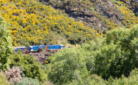 Two diesel engine locomotives pull train and coaches of Taieri Gorge tourist railway up the valley photo