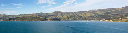 canterbury: Panoramic view of the coastline around Akaroa harbour near Christchurch on South Island of New Zealand