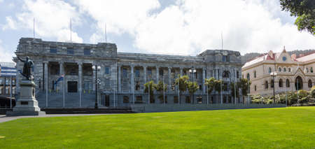 New Zealand Parliament government buildings in Wellington with Parliament House adn Parliamentary Library